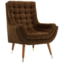 Suggest Button Tufted Upholstered Velvet Lounge Chair (Brown)