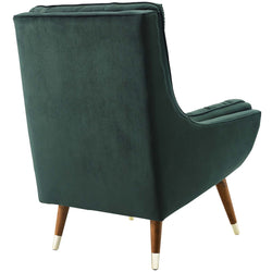 Suggest Button Tufted Upholstered Velvet Lounge Chair (Green)