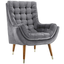 Suggest Button Tufted Upholstered Velvet Lounge Chair (Gray)