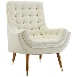 Suggest Button Tufted Upholstered Velvet Lounge Chair (Ivory)