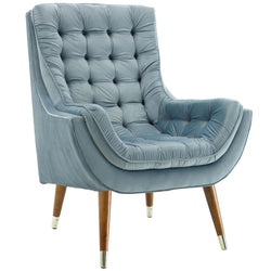 Suggest Button Tufted Upholstered Velvet Lounge Chair (Light Blue)