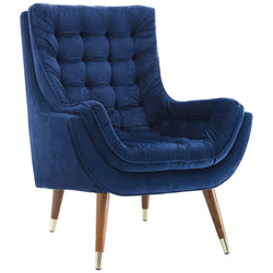 Suggest Button Tufted Upholstered Velvet Lounge Chair (Navy)