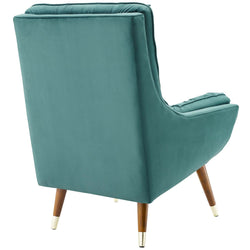 Suggest Button Tufted Upholstered Velvet Lounge Chair (Teal)
