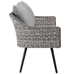 Endeavor Outdoor Patio Wicker Rattan Loveseat (Gray Gray)