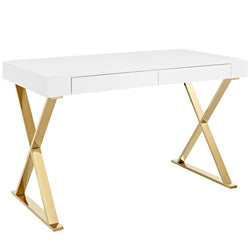 Sector Office Desk (White Gold)