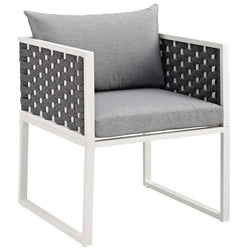 Stance Outdoor Patio Aluminum Dining Armchair (White Gray)