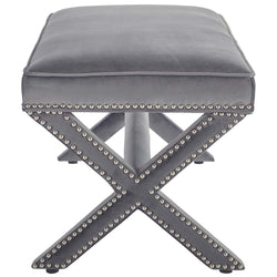 Rivet Upholstered Velvet Bench (Gray)
