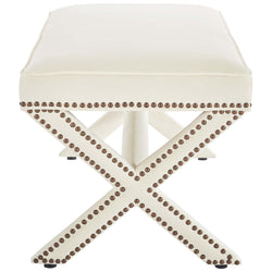 Rivet Upholstered Velvet Bench (Ivory)