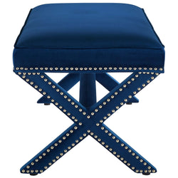 Rivet Upholstered Velvet Bench (Navy)