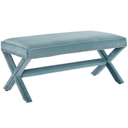 Rivet Upholstered Velvet Bench (Sea Blue)