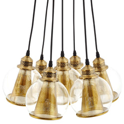 Peak Brass Cone and Glass Globe Cluster Pendant Chandelier ()
