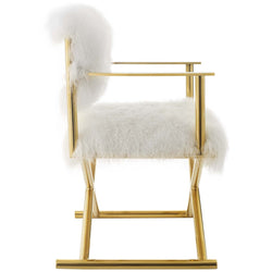 Action Pure White Cashmere Accent Director's Chair (Gold White)