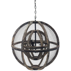 Gravitate Globe Rustic Oak Wood Pendant Light Chandelier ()