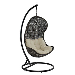 Parlay Swing Outdoor Patio Fabric Lounge Chair (Espresso Beige)