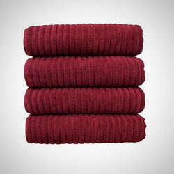 Luxe Wine Cotton Ribbed Towel