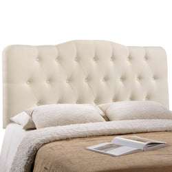 Annabel Queen Upholstered Fabric Headboard (Ivory)