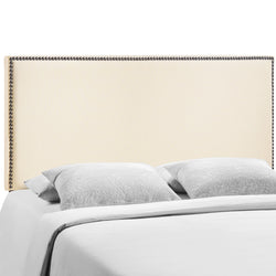 Region Queen Nailhead Upholstered Headboard (Ivory)