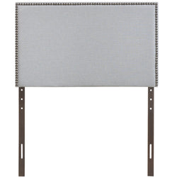 Region Twin Nailhead Upholstered Headboard (Sky Gray)