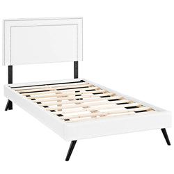 Virginia Twin Vinyl Platform Bed with Round Splayed Legs (White)