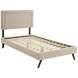 Virginia Twin Fabric Platform Bed with Round Splayed Legs (Beige)