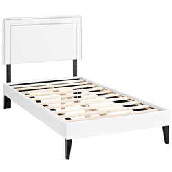 Virginia Twin Vinyl Platform Bed with Squared Tapered Legs (White)