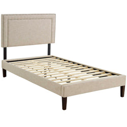 Virginia Twin Fabric Platform Bed with Squared Tapered Legs (Beige)