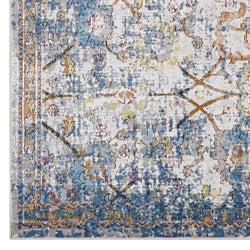 Minu Distressed Floral Lattice 5x8 Area Rug (Light Blue, Yellow and Orange)