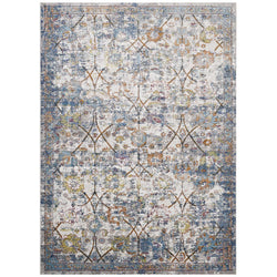 Minu Distressed Floral Lattice 8x10 Area Rug (Light Blue, Yellow and Orange)