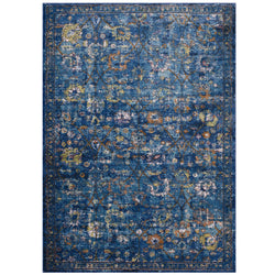 Minu Distressed Floral Lattice 4x6 Area Rug (Dark Blue, Yellow and Orange)