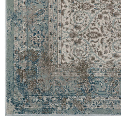 Dilys Distressed Vintage Floral Lattice 5x8 Area Rug (Teal, Brown and Beige)