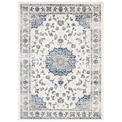 Lilja Distressed Vintage Persian Medallion 5x8 Area Rug (Ivory and Moroccan Blue)