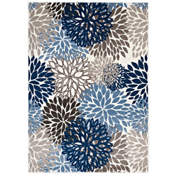 Calithea Vintage Classic Abstract Floral 5x8  Area Rug (Blue, Brown and Beige)