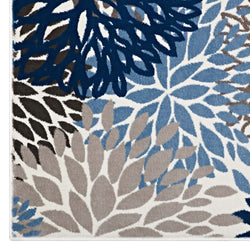 Calithea Vintage Classic Abstract Floral 8x10  Area Rug (Blue, Brown and Beige)