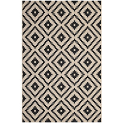 Perplex  Geometric Diamond Trellis 8x10 Indoor and Outdoor Area Rug (Black and Beige)