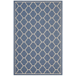 Avena Moroccan Quatrefoil Trellis 5x8 Indoor and Outdoor Area Rug (Blue and Beige)