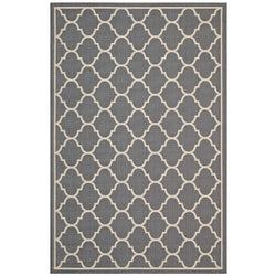 Avena Moroccan Quatrefoil Trellis 5x8 Indoor and Outdoor Area Rug (Gray and Beige)