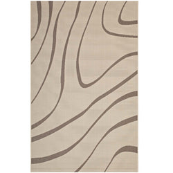 Surge Swirl Abstract 5x8 Indoor and Outdoor Area Rug (Light and Dark Beige)