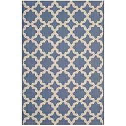 Cerelia Moroccan Trellis 8x10 Indoor and Outdoor Area Rug (Blue and Beige)