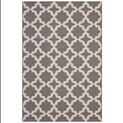 Cerelia Moroccan Trellis 5x8 Indoor and Outdoor Area Rug (Gray and Beige)