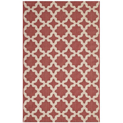 Cerelia Moroccan Trellis 5x8 Indoor and Outdoor Area Rug (Red and Beige)