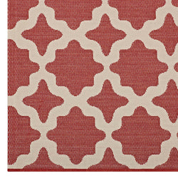 Cerelia Moroccan Trellis 8x10 Indoor and Outdoor Area Rug (Red and Beige)
