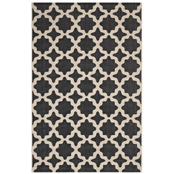 Cerelia Moroccan Trellis 5x8 Indoor and Outdoor Area Rug (Black and Beige)