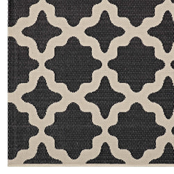 Cerelia Moroccan Trellis 8x10 Indoor and Outdoor Area Rug (Black and Beige)