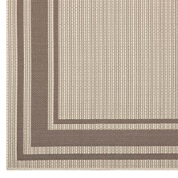 Rim Solid Border Borderline 8x10 Indoor and Outdoor Area Rug (Light and Dark Beige)