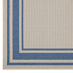 Rim Solid Border Borderline 8x10 Indoor and Outdoor Area Rug (Blue and Beige)
