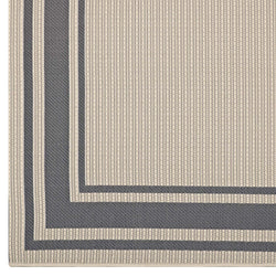 Rim Solid Border Borderline 5x8 Indoor and Outdoor Area Rug (Gray and Beige)