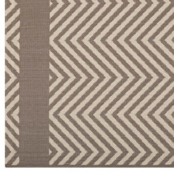 Optica Chevron With End Borders 8x10 Indoor and Outdoor Area Rug (Light and Dark Beige)