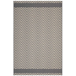 Optica Chevron With End Borders 8x10 Indoor and Outdoor Area Rug (Gray and Beige)