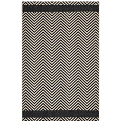 Optica Chevron With End Borders 8x10 Indoor and Outdoor Area Rug (Black and Beige)