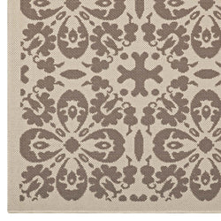 Ariana Vintage Floral Trellis 5x8 Indoor and Outdoor Area Rug (Light and Dark Beige)